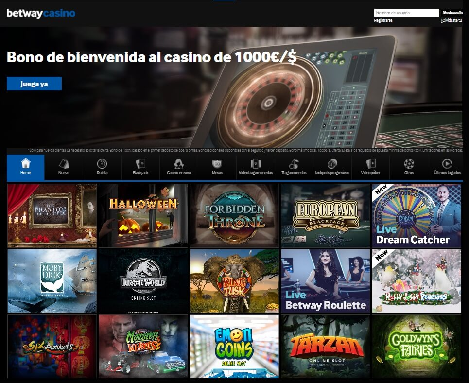 betway casino mainpage
