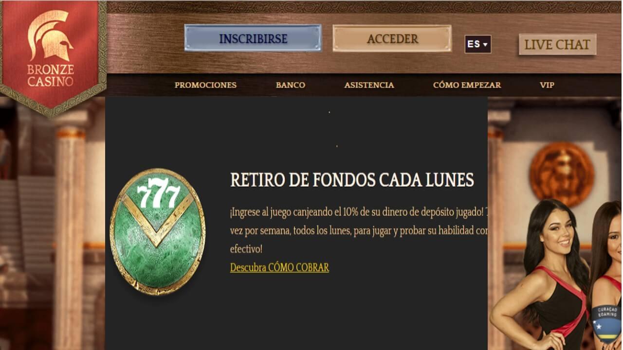 Lunes 10% de reembolso promocional Bronze Casino