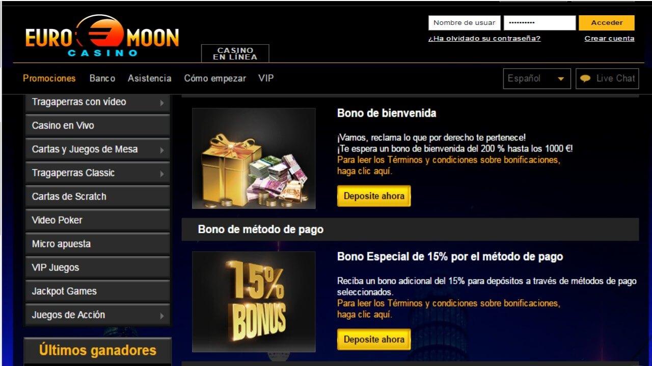 Bonificación 15% por método de ingreso Casino Euromoon