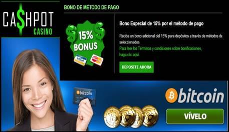 Casino Cashpot entrega hasta un 15% adicional por método de ingreso