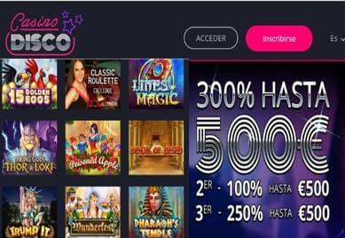 Por los primeros tres depósitos Casino Disco entrega hasta 500 euros
