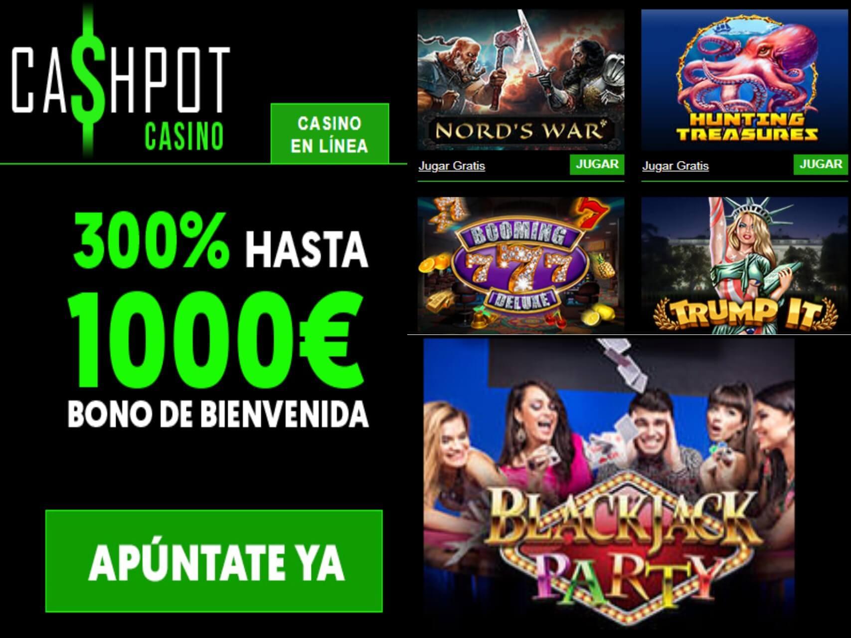 Casino Cashpot otorga 300% por bono de bienvenida