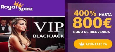 Reciba 800 euros en Casino RoyalSpinz sobre 400% promocionales por bono de bienvenida