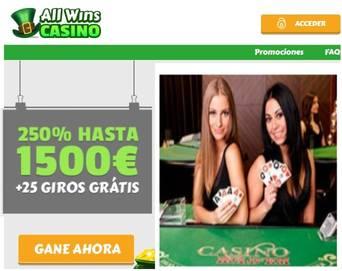 Allwins Casino otorga 250% sobre primer depósito hasta por 1500