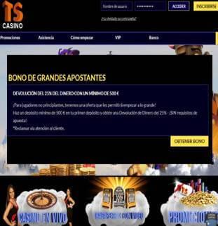 Al depositar como mínimo 500 euros Casino Times Square entrega un 25% más
