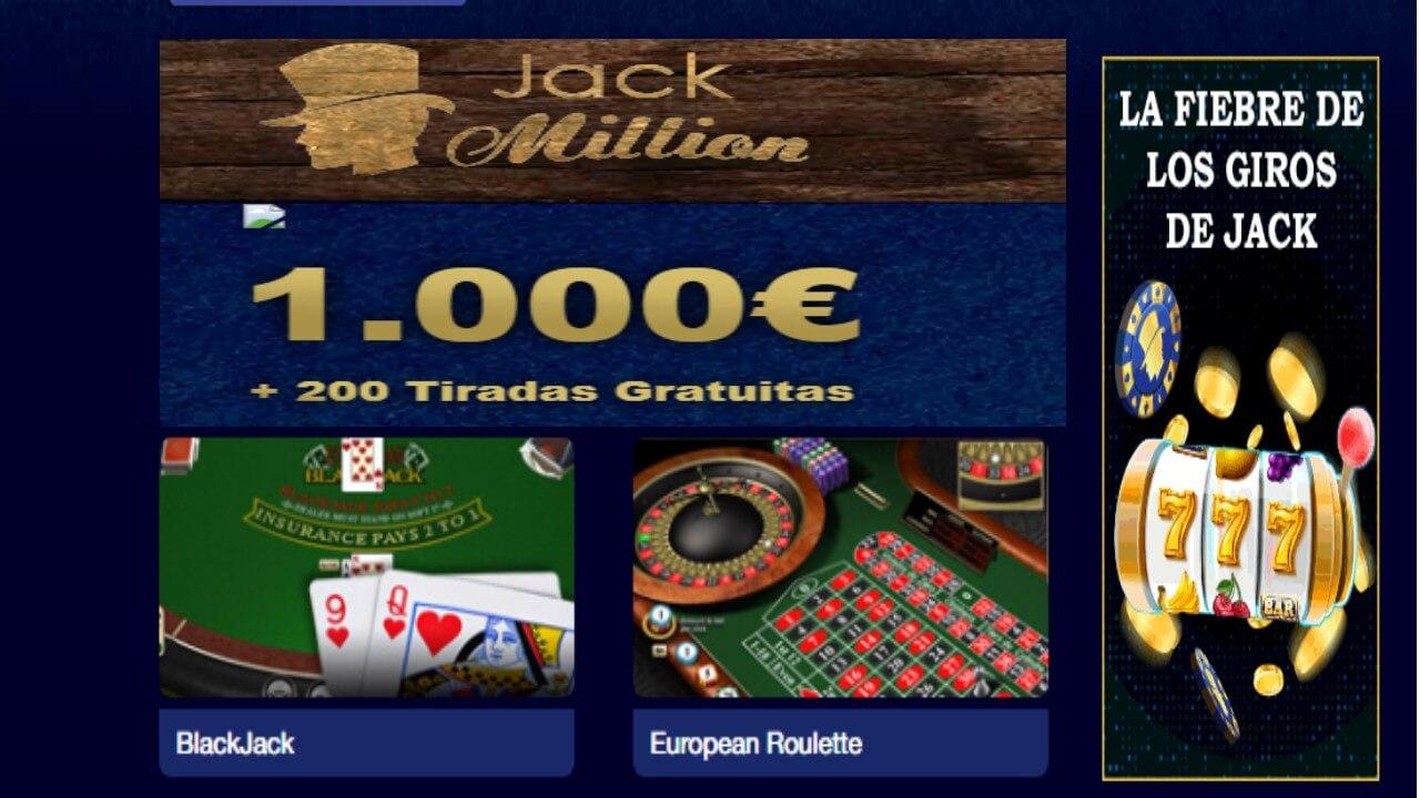 Giros gratis de los lunes en Jack Million